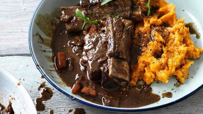 "Recipe: <a href=""http://kitchen.nine.com.au/2016/06/23/10/14/hayden-quinns-beer-braised-beef-short-ribs-with-sweet-potato-mash"" target=""_top"">Hayden Quinn's beer braised beef short ribs with sweet potato mash<br /> </a>"