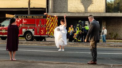 Bride and groom pause wedding to help man hit by car