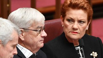 Brian Burston and Pauline Hanson in the Senate chamber. (AAP)