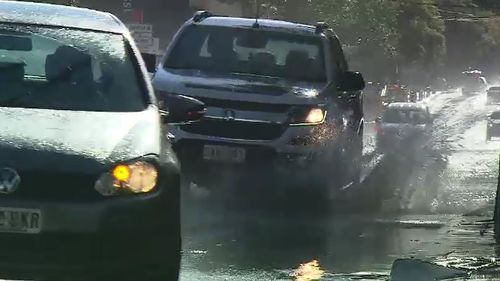 An extreme cold front has brought heavy rain and hail to Adelaide. Picture: 9NEWS