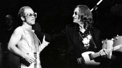 Photo of Elton John and John Lennon, Lennon's last live appearance, November 28th, 1974.