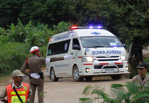 Royal Thai police ambulance evacuates a cave trapped boy to hospital after he was rescued from the Tham Luang cave overnight. Picture: EPA