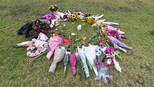 Floral tributes to Ms Dixon have steadily grown since Wednesday morning. Picture: AAP