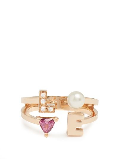 "<a href=""http://www.matchesfashion.com/au/products/Delfina-Delettrez-Diamond,-rhodolite,-pearl-%26-pink-gold-ring--1155189"" target=""_blank"">Delfina Delettrez diamond, rhodalite, pearl and pink gold Love Ring exclusive to Matches.com, $2563.</a>"