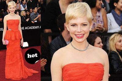 """All hail Michelle Williams. She can do no wrong on the red carpet.<br/><br/>Spoiler alert! <a href=""""http://yourmovies.com.au/article/oscars2012/8425037/oscars-2012-moviefixs-live-results-blog"""">Head over to MovieFIX to find out who won...</a>"""
