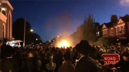 Up to 30 people have been injured in a massive bonfire explosion in London overnight. Picture: Supplied.