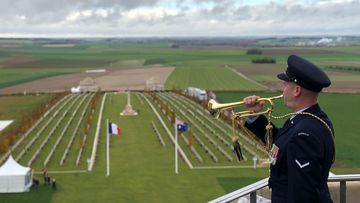 At 11am, the bugler call echoed from the tower, across the headstones and out to the battlefields. (Image: Tyson Scott)