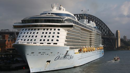 Ovation of the Seas docked in Sydney Harbour this morning.
