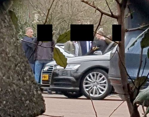 A surveillance image of the Russian GRU officers being apprehended by Dutch intelligence officers after they parked a car carrying specialist hacking equipment near the headquarters of the OPCW.