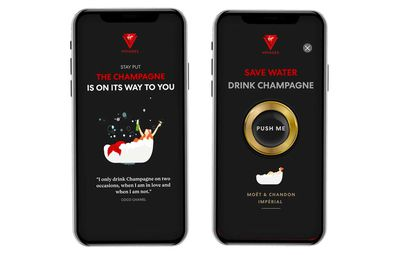 Passengers can download a Virgin Voyages Sailors app, featuring a 'shake for Champagne' option.