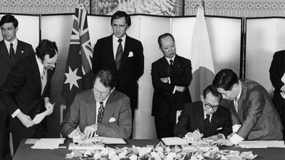 Fraser's first cabinet role was to oversee the Vietnam War conscription program. Fraser and his Japanese counterpart Takeo Miki signing a friendship treaty at the latter's official residence in Tokyo, 22nd June 1976. (Getty Images)