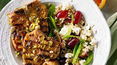 "Recipe:&nbsp;<a href=""http://kitchen.nine.com.au/2016/05/04/15/37/orange-and-thyme-lamb-loin-chops-with-brown-rice-grape-and-feta-salad"" target=""_top"">Orange and thyme lamb loin chops with brown rice, grape and feta salad</a>"