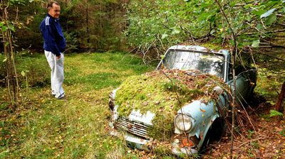 A Finnish man who dumped his Ford Anglia in the woods behind his parents' house in 1974 recently returned to their derelict estate and was surprised to find the vehicle had held up surprisingly well over the last 40 years. (All images Reddit)