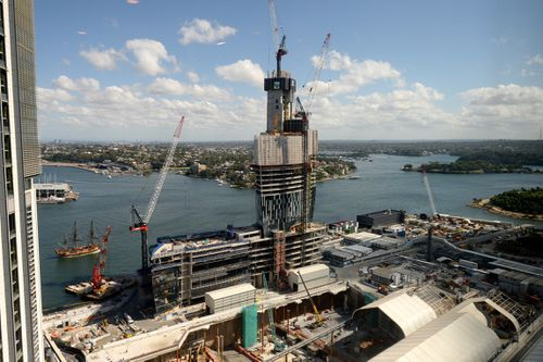 Construction continues on the Crown Casino building at Sydney's Barangaroo precinct.