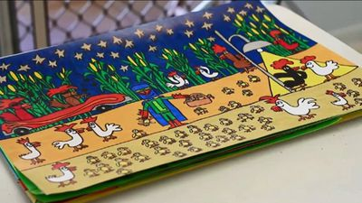 Tim's art has a distinctive style. (9NEWS)