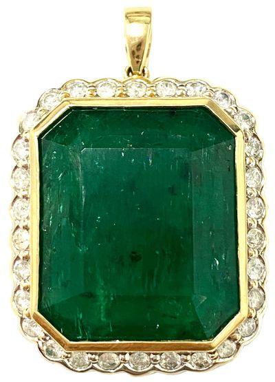 14-carat yellow gold emerald and diamond pendant