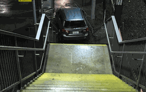 Woman requires car to be cut out after driving down staircase