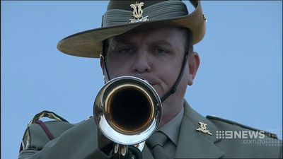 A bugler plays the Last Post at Anzac Cove. (9NEWS)