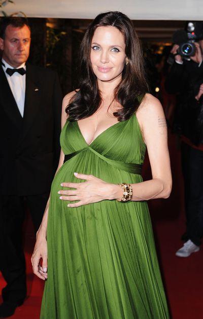 Angelina Jolie in draped green Emanual Ungaro.