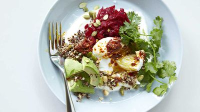 "Recipe: <a href=""http://kitchen.nine.com.au/2017/04/19/11/05/bills-buckwheat-bowl-with-poached-egg"" target=""_top"">Bill's buckwheat bowl, poached egg, goat's yogurt and rose harissa</a>"