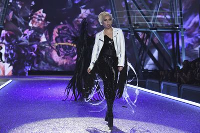 Lady Gaga concealed her wings beneath a customised Schott leather Perfecto jacket.