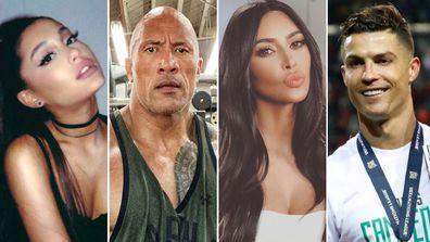 Most followed celebrities, Instagram, list, Ariana Grande, The Rock, Kim Kardashian, Cristiano Ronaldo
