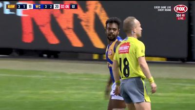 West Coast Eagles star Willie Rioli faces nervous wait over cheeky umpire bum tap