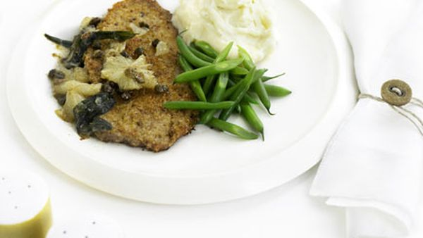 Veal schnitzel with lemon, caper and sage sauce