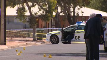 Police taped off the street in Port Augusta.