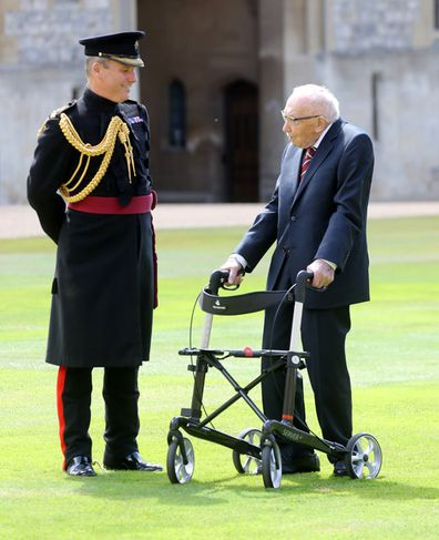 Captain Sir Thomas Moore arrives prior being awarded with the insignia of Knight Bachelor by Queen Elizabeth II at Windsor Castle on July 17, 2020 in Windsor, England