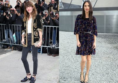 The front row wasn't immune to the trend. Jennifer Connelly was spotted in a velvet number at Dior while Lou Doillon opted for a textured blazer at Chanel.