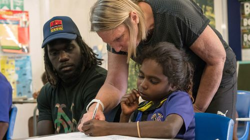 McDonald-Tipungwuti travelled to Hope Vale Campus in Cape York this week. (Supplied)