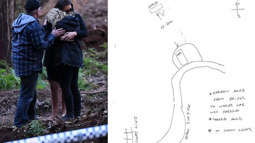 Faye and Mark Leveson (left) comfort each other alongside friend Rachel Sanki after police finally find Matthew's body in May 2017. Michael Peter Atkins had drawn a map to help detectives locate the grave inside a NSW national park (right). (AAP)