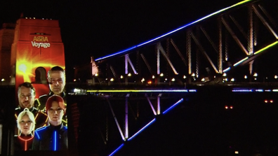 In the early hours of this morning Sydney's Harbour Bridge lit up in celebration of ABBA's news.