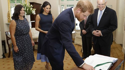 After their bridge climb, Prince Harry and Scott Morrison meet for a sit down at Kirribilli House in Sydney with Meghan, Duchess of Sussex, and Mr Morrison's wife Jenny Morrison.