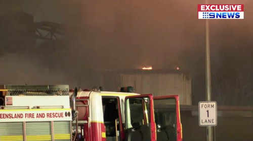 A laundromat in Moorooka went up in flames with nine fire crews on scene to tackle the blaze.