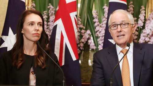 Australian Prime Minister Malcolm Turnbull talks as New Zealand Prime Minister Jacinda Ardern listens during a press conference after their meeting in Sydney, Australia. (AAP)
