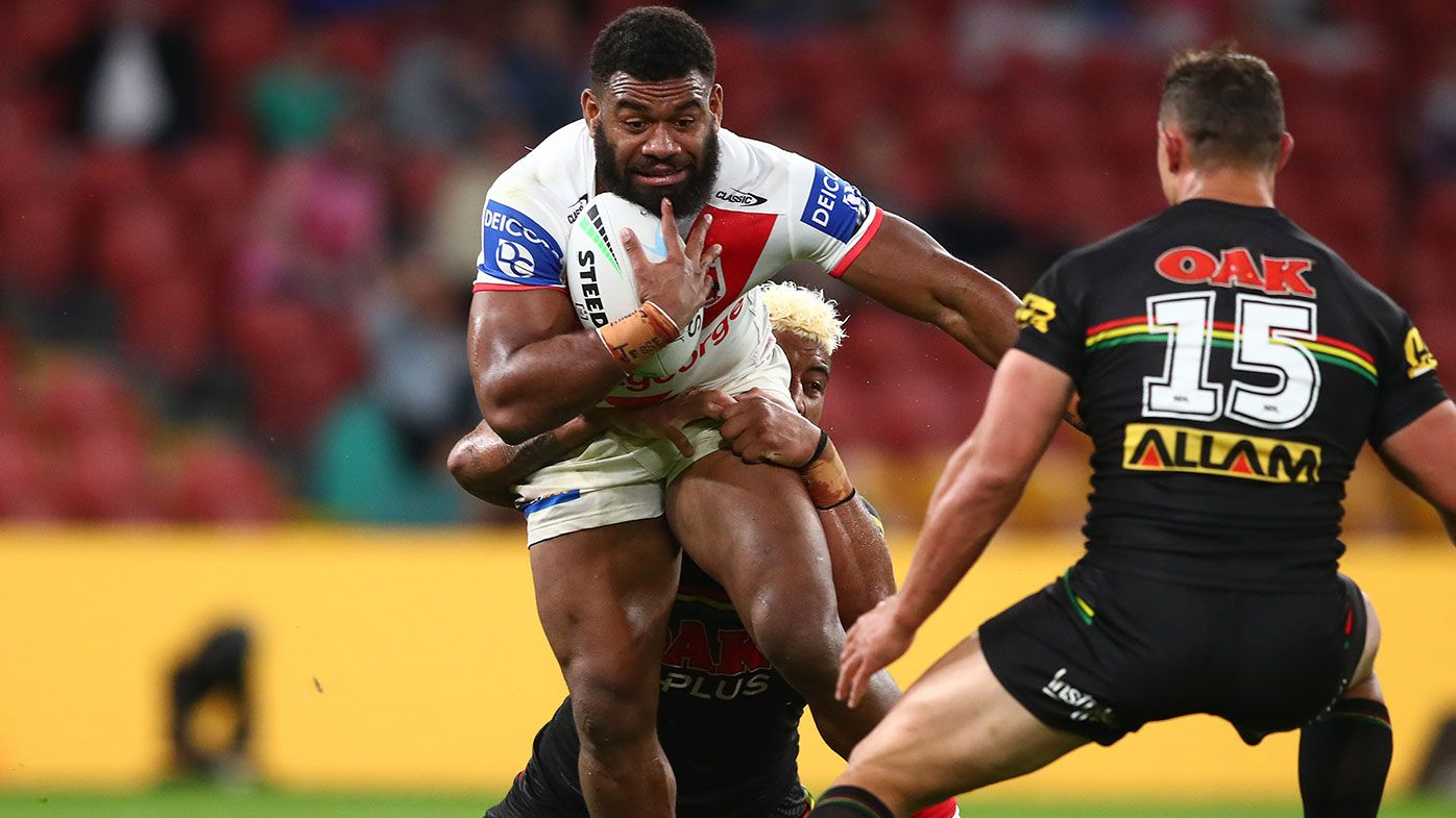 Mikaele Ravalawa of the Dragons is tackled during the round 22 NRL match between the St George Illawarra Dragons and the Penrith Panthers at Suncorp Stadium, on August 13, 2021, in Brisbane, Australia. (Photo by Chris Hyde/Getty Images)