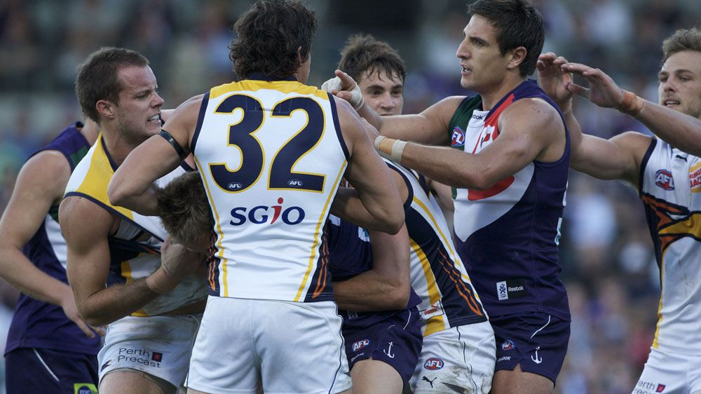 Eagles and Dockers players brawl in 2010. (AAP-file)