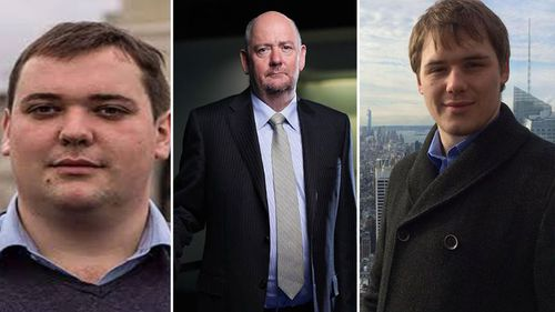 Richard Cousins (middle) with adult sons William (left) and Edward. (Supplied)