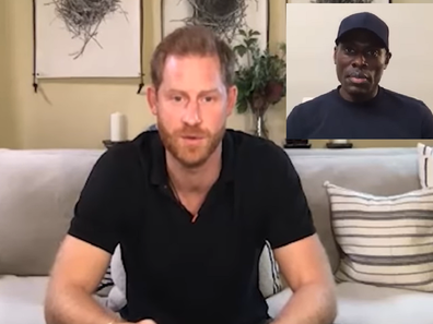 Patrick Hutchinson with Prince Harry racism Meghan protests