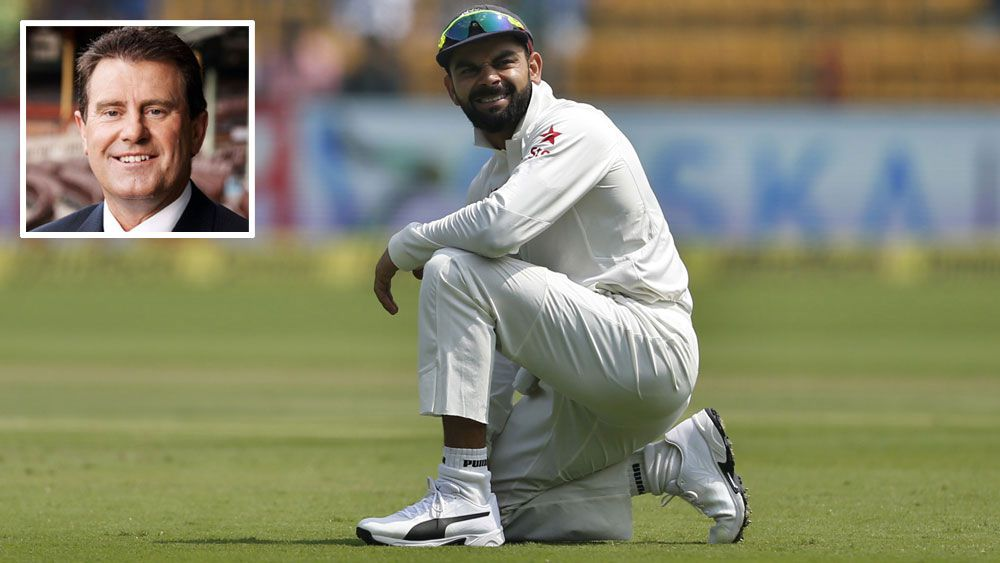 Channel Nine's Mark Taylor and India captain Virat Kohli.