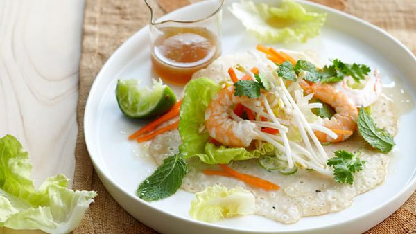 Coconut prawn crepes