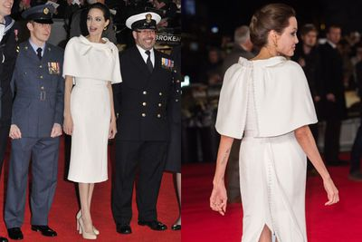 Angelina wore white well at <i>Unbroken</i>'s London premiere.