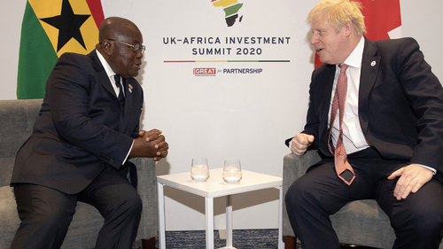 Britain's Prime Minister Boris Johnson meets with President of Ghana Nana Akufo-Addo, left, at the UK Africa Investment Summit in London, Monday Jan. 20, 2020.