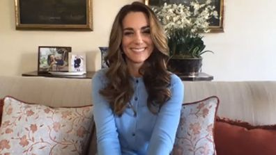 Kate Middleton, Duchess of Cambridge wearing Boden cardigan during video call with Hold Still finalist