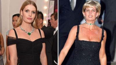 Lady Kitty Spencer at the Bvlgari FESTA Gala Dinner, 2018; Princess Diana at the Tate Gallery, 1997