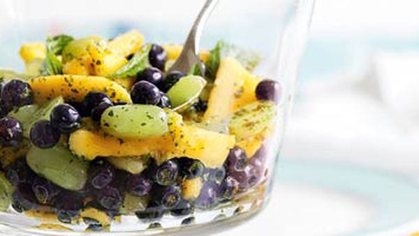 Blueberry, mango & grape salad with mint