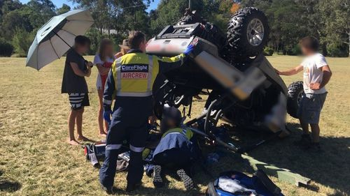 Emergency services treat a teenager after a 4WD buggy crash.