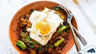 "Recipe:&nbsp;<a href=""http://kitchen.nine.com.au/2017/05/03/14/03/kong-kimchi-fried-rice-with-brisket-and-a-fried-egg"" target=""_top"" draggable=""false"">Kong kimchi fried rice with brisket and a fried egg</a>"